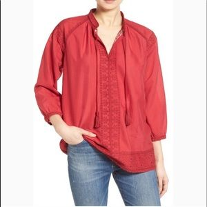 NWT Madewell Camelia Embroidered Tassel Top Red
